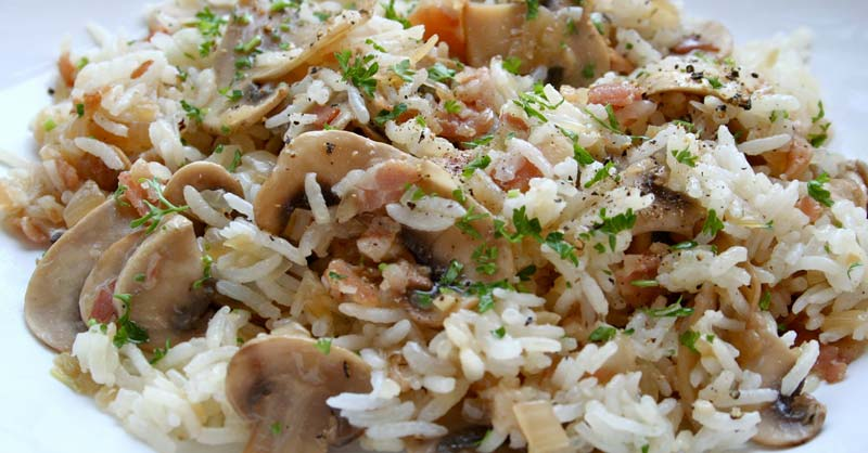 arroz con champiñones y bacon