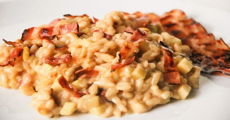 Risotto con bacon y queso manchego